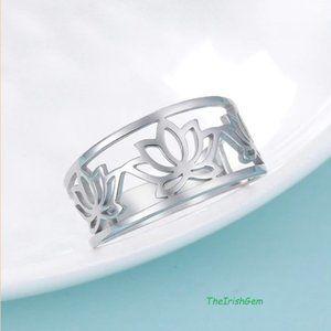 Stainless Steel Lotus Flower Ring